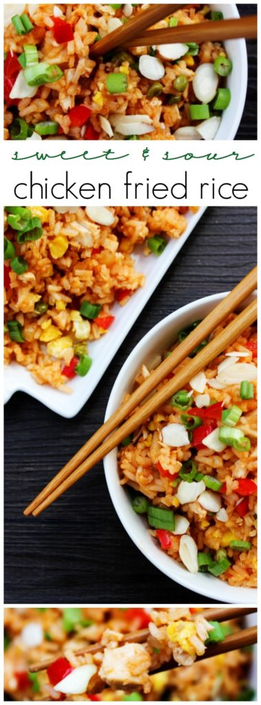 Skip the take-out and make this Sweet & Sour Chicken Fried Rice instead. Two of your favorite take-out dishes made into one easy 30-minute meal.