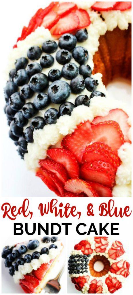 Red, White, & Blue Bundt Cake with Fresh Berries pinterest image