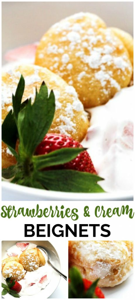 Strawberries & Cream Beignets pinterest image