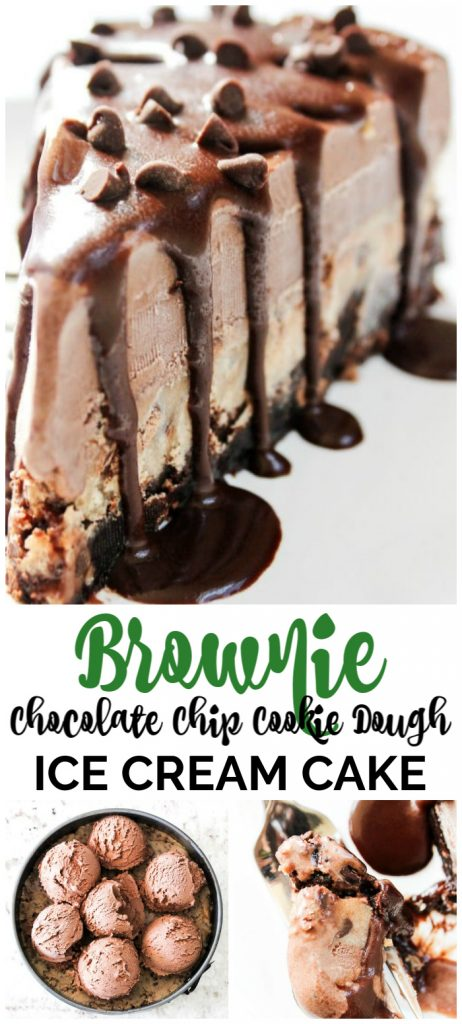 Brownie Chocolate Chip Cookie Dough Chocolate Ice Cream Cake pinterest image