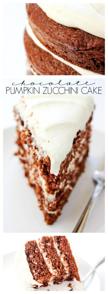 Chocolate Pumpkin Zucchini Cake is a delicious layer cake made with three of my favorite fall ingredients. It is a perfect dessert for this time of year. Chocolate Pumpkin Zucchini Layer Cake LONG PIN
