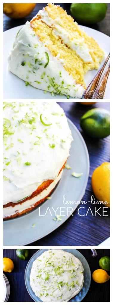 Top Photo: Slice of lemon lime layer cake. Middle Photo: Side of lemon lime layer cake, bottom photo: top down view of lemon lime layer cake