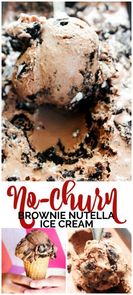 No-Churn Brownie Nutella Ice Cream pinterest image