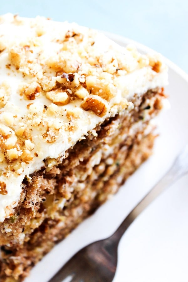 Banana Zucchini Cake slice up close on a plate