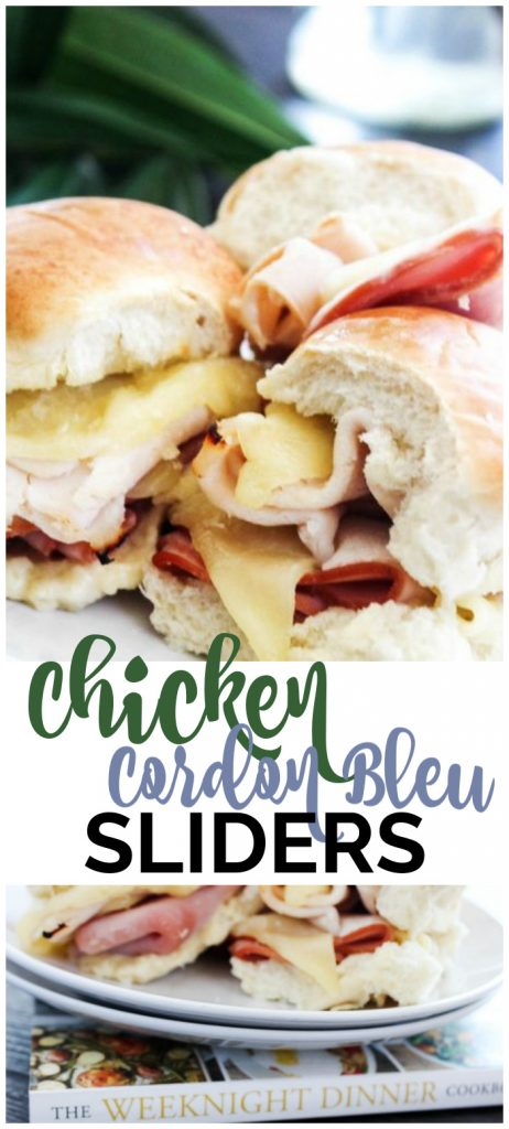 Chicken Cordon Bleu Sliders pinterest image