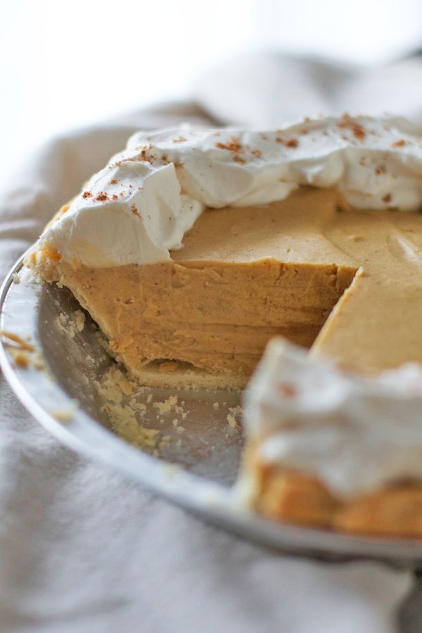 Gingerbread Cream Pie crust with gingerbread cookies flavored filling and whipped cream