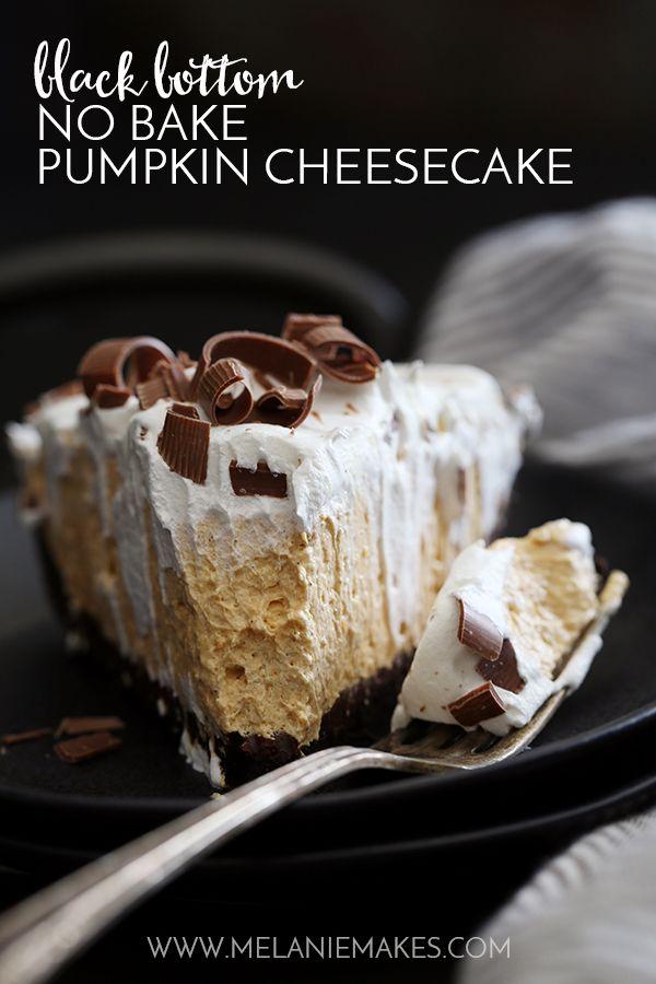 Black Bottom No-Bake Pumpkin Cheesecake, chocolate crust, whipped cream, chocolate shavings