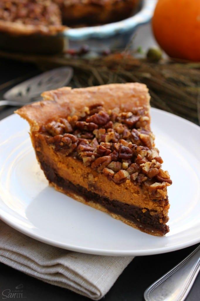 Chocolate Pecan Pumpkin Piebrownie, pie crust, pumpkin pie filling, pecans