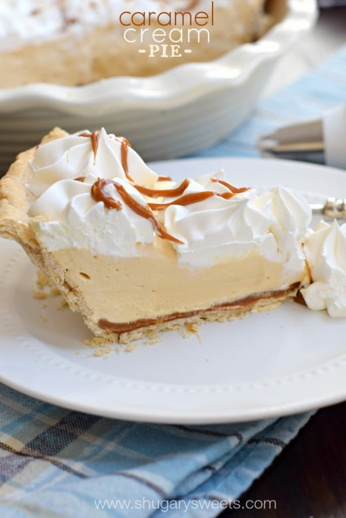 Caramel Cream Pie crust with dulce de leche layer, creamy caramel filling, and whipped cream with caramel sauce