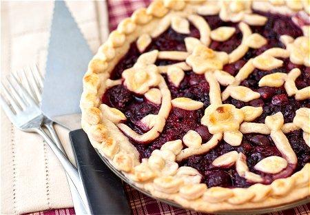 Triple Berry Pie crust with raspberries, blueberries, blackberries