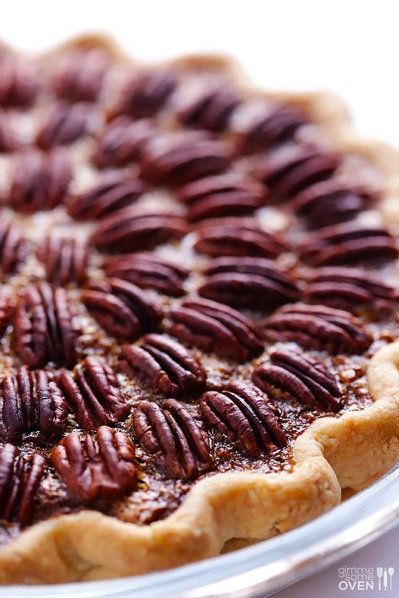 Pecan Pie, pie crust, pecans topping, and pecan filling