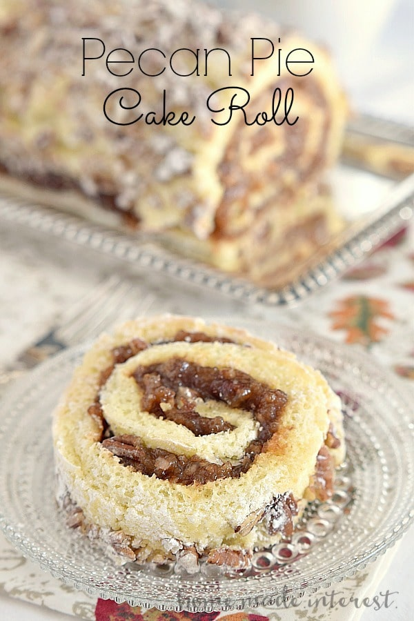 Pecan Pie Cake Roll caramel pecan swirl filling sponge cake