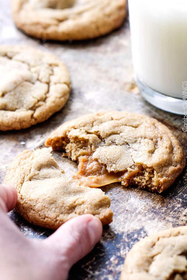 Caramel Stuffed Brown Sugar Cookies