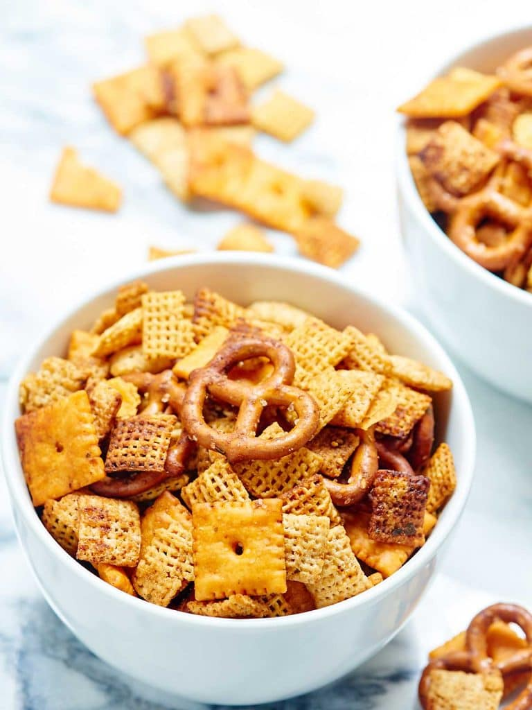 Slow Cooker Chex Mix - chex cereal, pretzels, and cheez-its snack mix