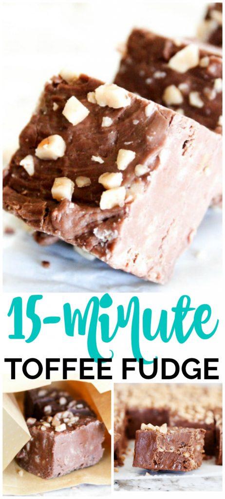 15-Minute Toffee Fudge pinterest image