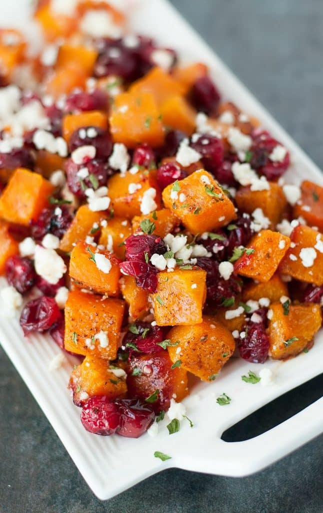HONEY ROASTED BUTTERNUT SQUASH CRANBERRIES & FETA