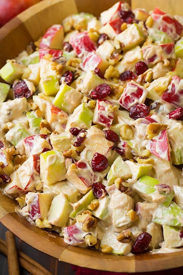 CREAMY CINNAMON APPLE WALNUT FRUIT SALAD