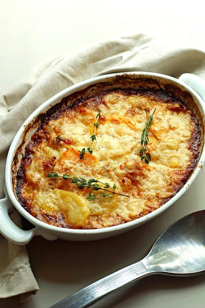 Potato, Squash, And Goat Cheese Gratin Recipe — Dishmaps