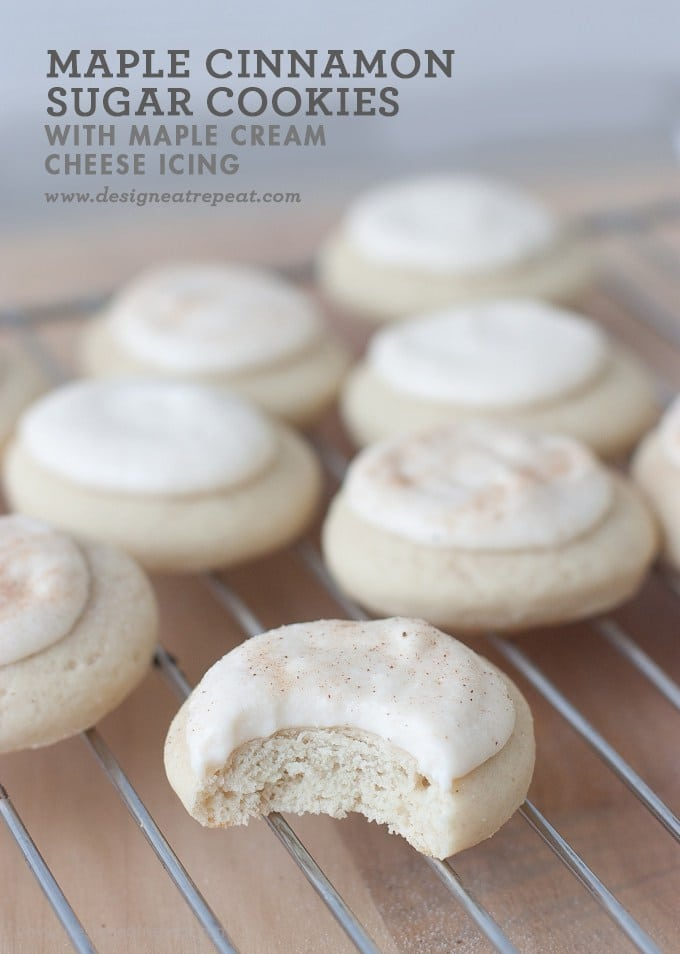 Soft sugar cookies with maple cinnamon cream cheese icing dusted with cinnamon
