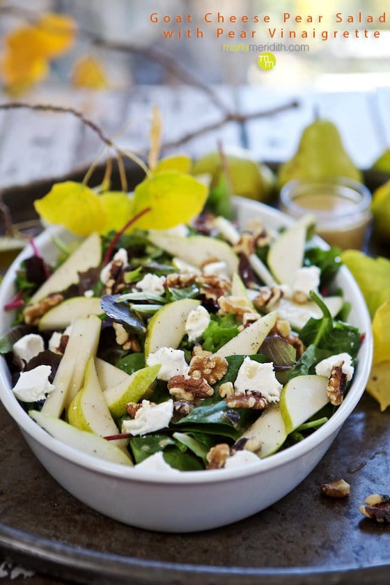 GOAT CHEESE PEAR SALAD WITH PEAR VINAIGRETTE
