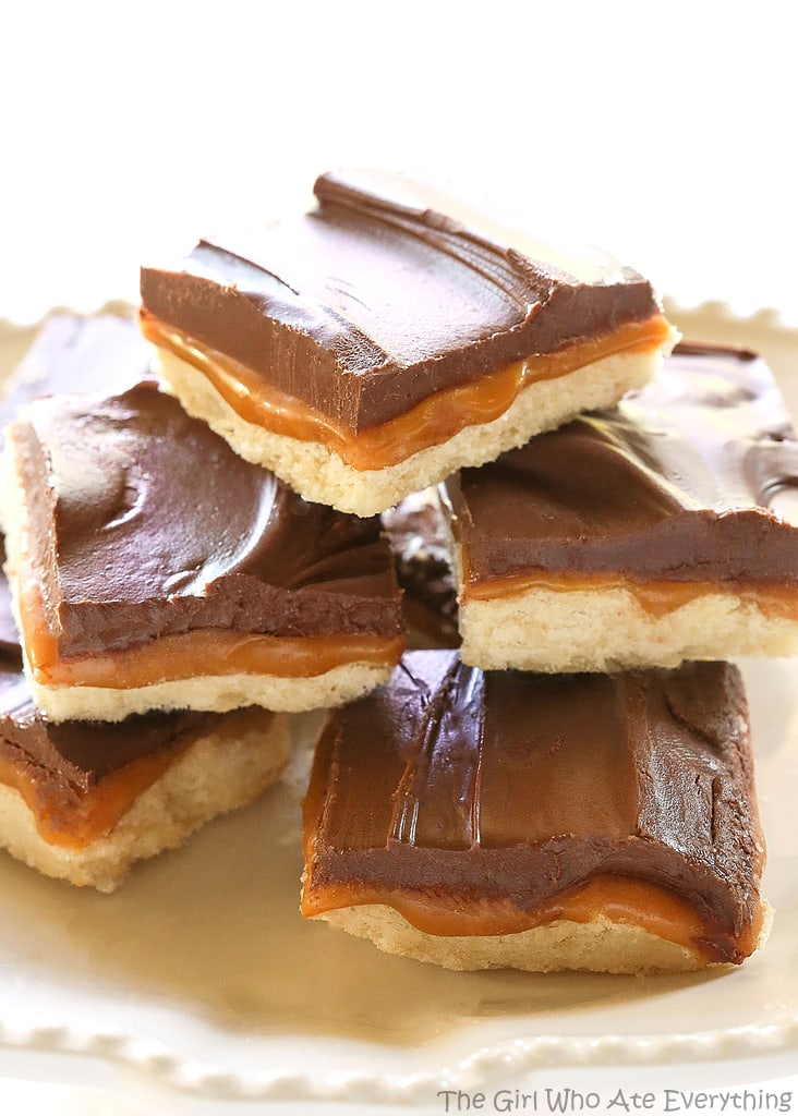 Homemade Twix Bars biscuit with caramel and chocolate