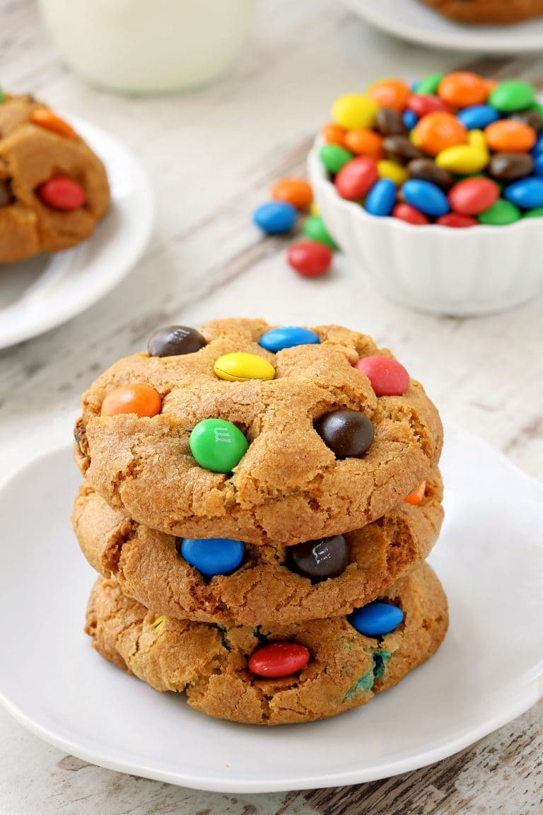 Soft cookies with M&M candies