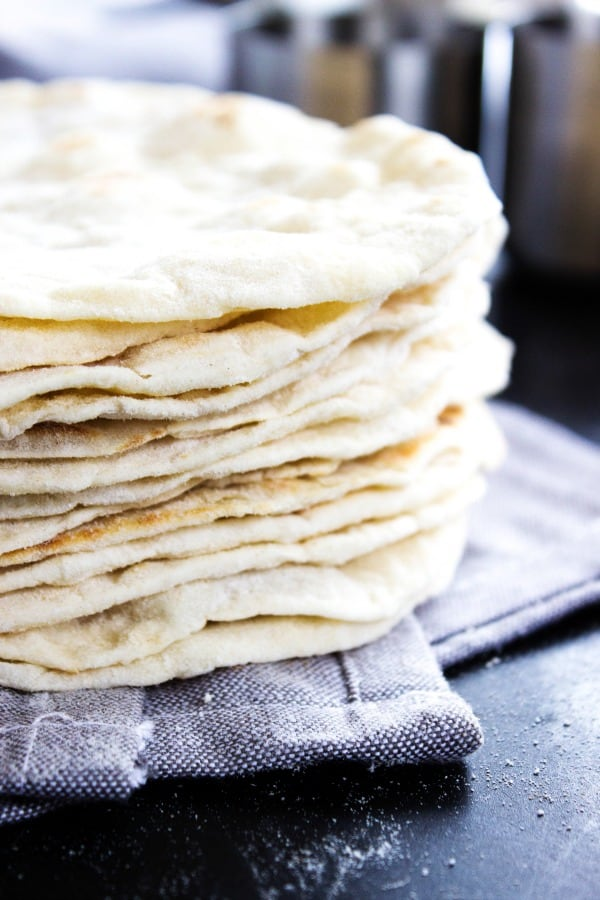 stack of finished Flour Tortillas