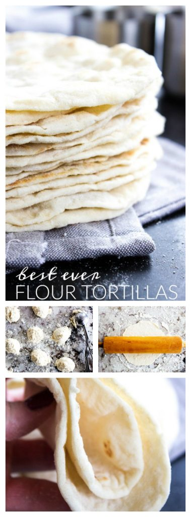 stack of Flour Tortillas, balls of dough measured out, dough being rolled out on countertop. Flour Tortilla folded