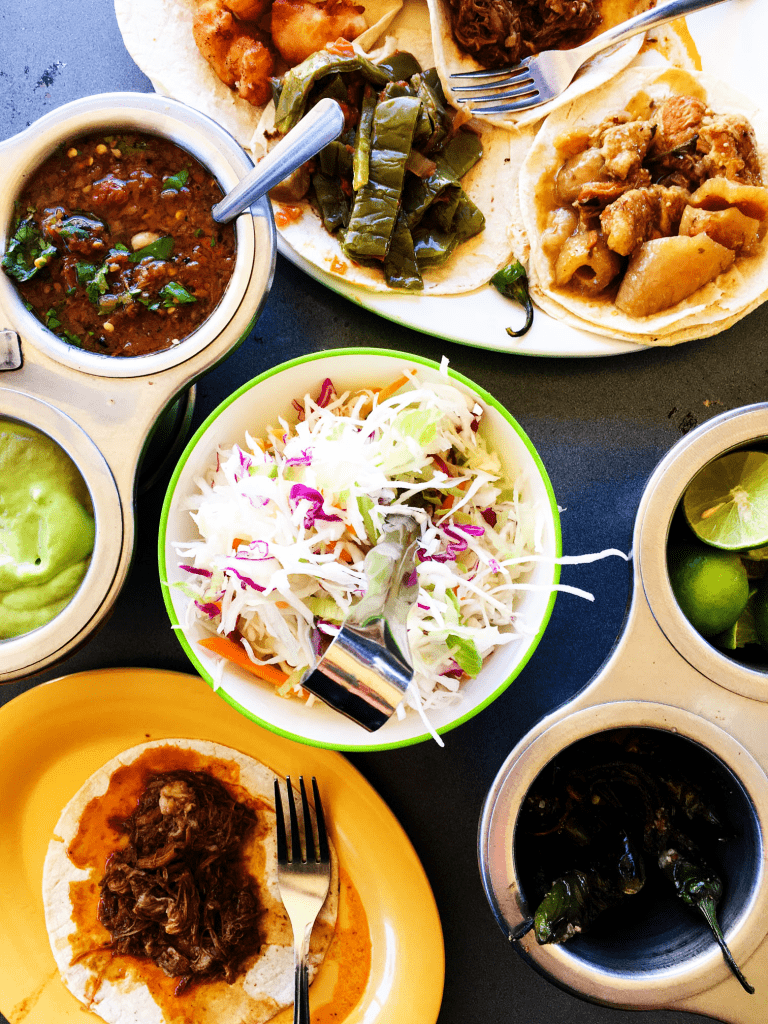 spread of street taco ingredients