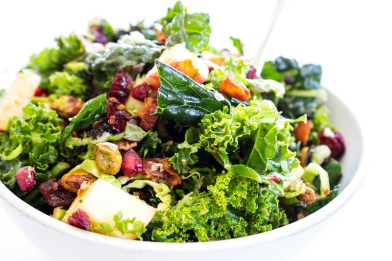 Winter Kale Super Salad is a gorgeous salad that is perfect for the holidays. It is full of nutrients, amazing flavor, and it makes enough to feed a crowd.