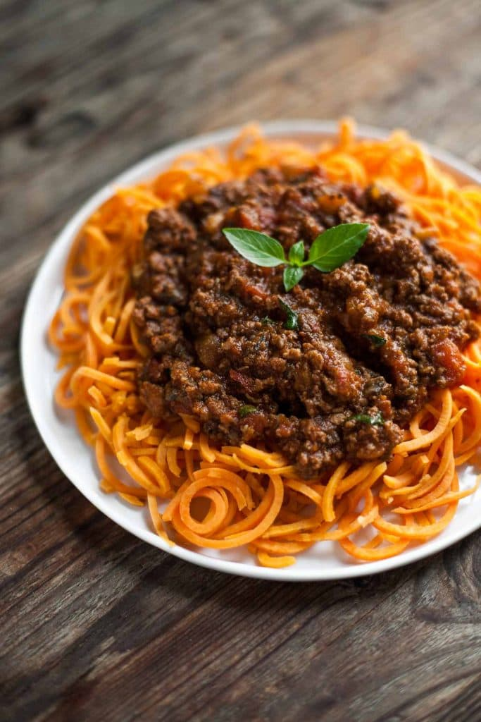 SLOW-COOKED BOLOGNESE SAUCE WITH SWEET POTATO SPAGHETTI