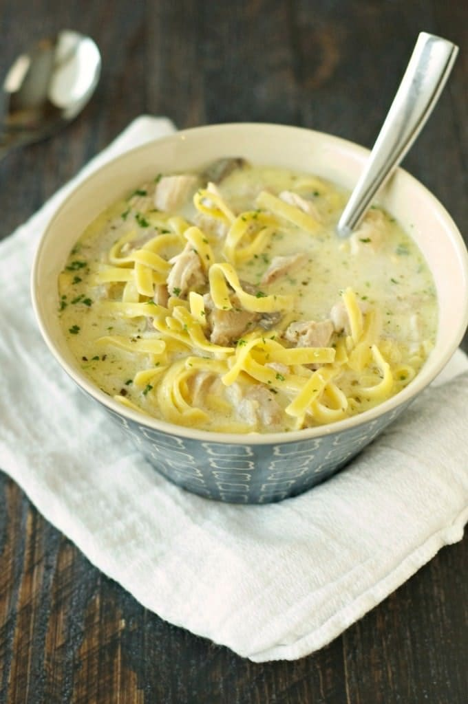 SLOW COOKER CREAMY CHICKEN NOODLE