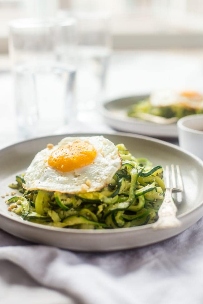 ZUCCHINI NOODLES WITH EVERYTHING PESTO AND FRIED EGGS