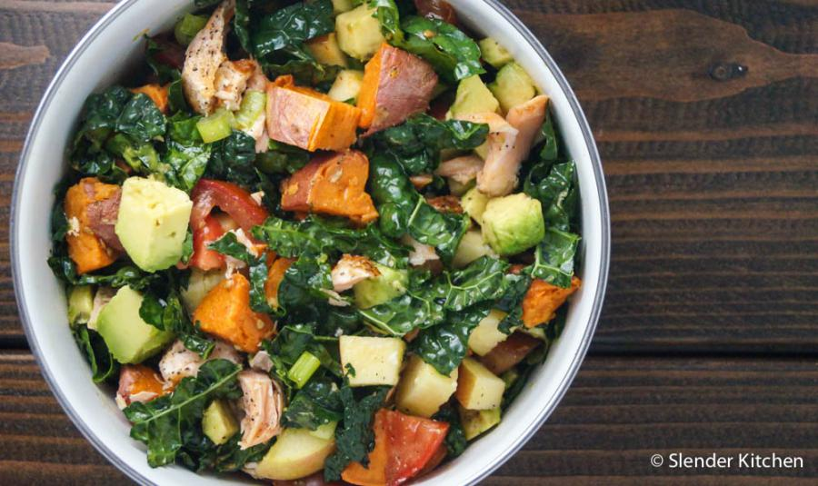 SALMON, SWEET POTATO & AVOCADO KALE SALAD