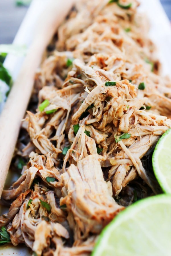 SLOW COOKER CHILE LIME PULLED PORK