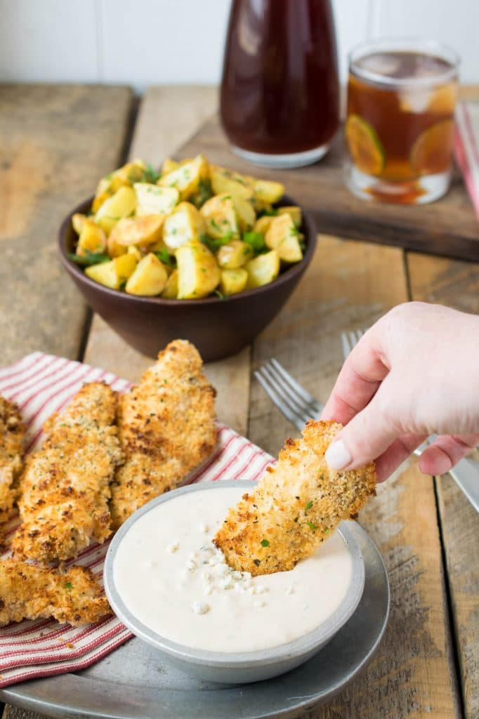 Baked Chicken Tenders with Blue Cheese Sauce
