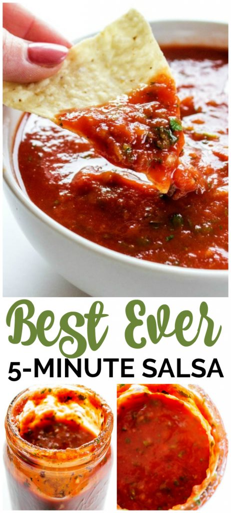 This Best Ever 5-Minute Salsa is an easy to make yet delicious salsa. It is perfect on tacos, or as a snack with your favorite chips.