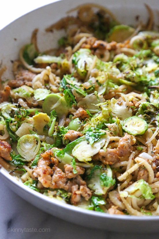 Brussels Sprouts and Sausage Parsnip Spiralized Pasta