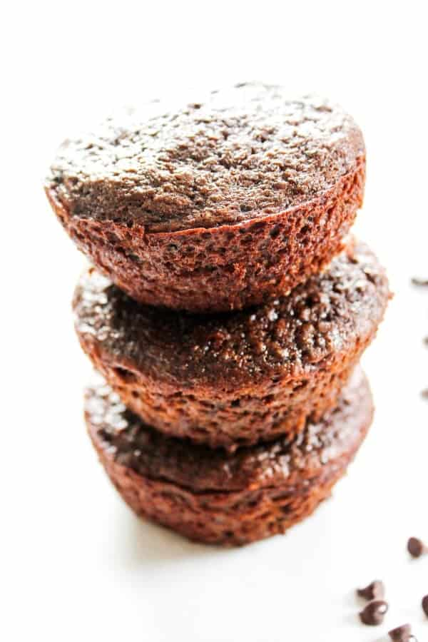 stack of 3 Double Chocolate Banana Quinoa Muffins