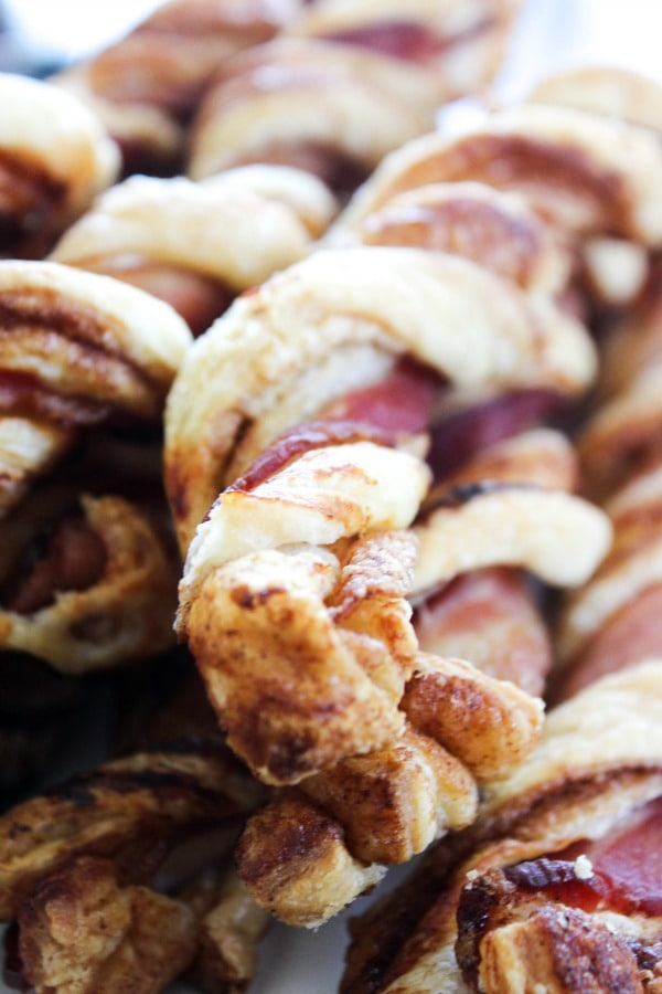 close up of a stack of Crispy Bacon Cinnamon Roll Twists