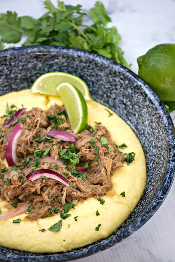 Slow Cooker Beef Chili Verde with Polenta