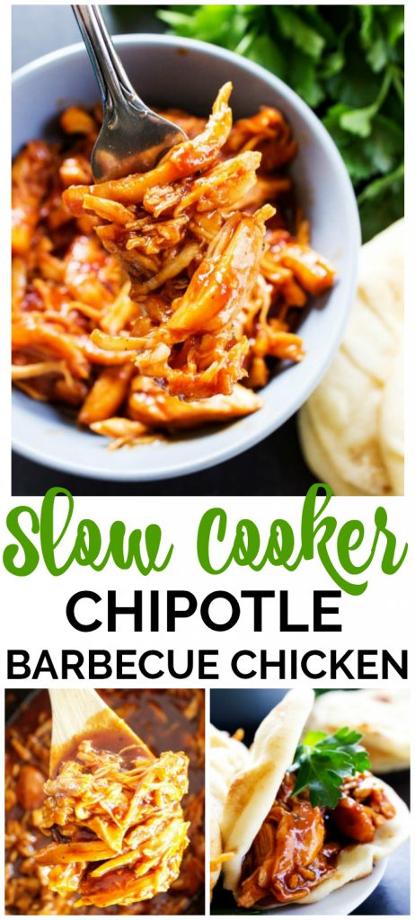Slow Cooker Chipotle Barbecue Chicken Collage. Top photo: Chipotle Barbecue Chicken on a fork above a bowl. Bottom left: Chipotle Barbecue Chicken on a wooden spoon over crockpot. bottom right: Chipotle Barbecue Chicken in folded flatbread on a plate