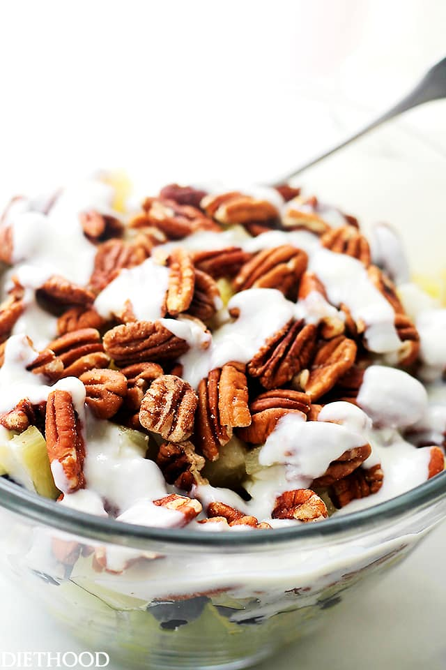 pecans, lemon, yogurt, mixed fruit salad, glass bowl