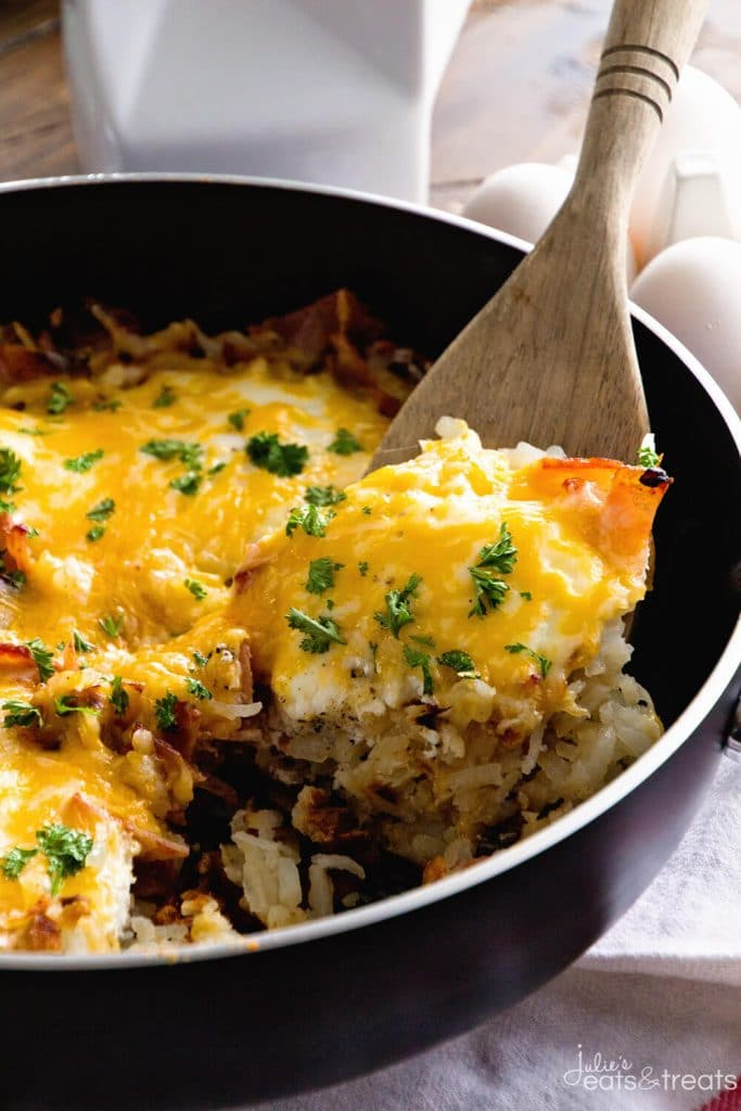Cheesy Bacon Egg Hash Brown Skillet