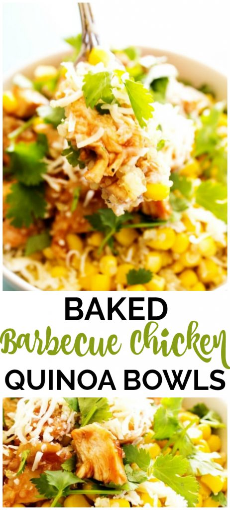 Baked Barbecue Chicken & Quinoa Bowls collage