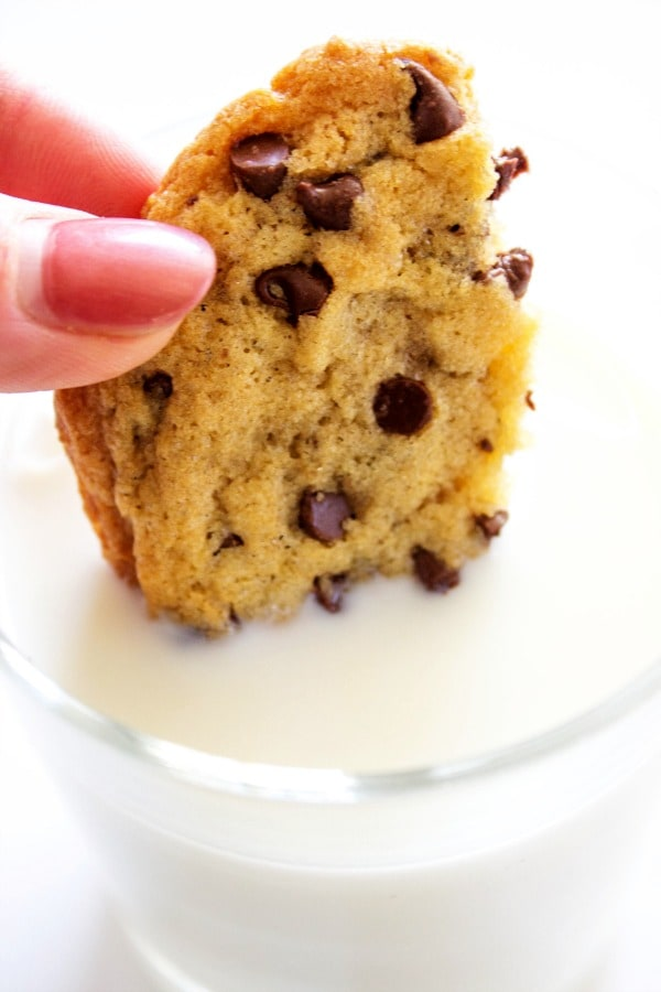 chocolate chip cookie in milk