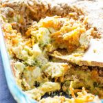 Broccoli Chicken Curry Casserole a creamy delicious curry dish made with fresh broccoli chicken and a crispy cheese topping.