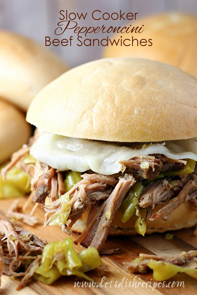 Slow Cooker Pepperonicini Beef Sandwiches