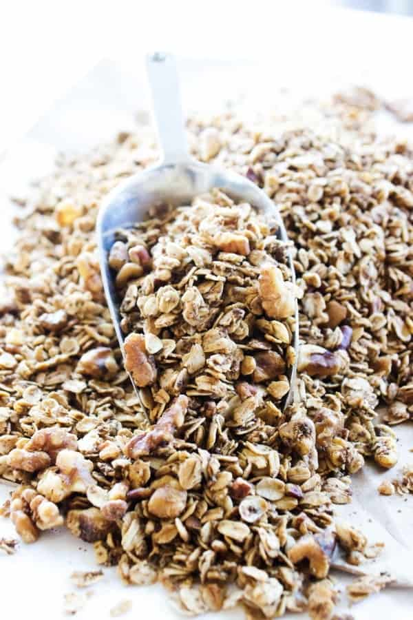 Maple Pecan Granola is a healthier granola option, great as a snack or topping on yogurt. It will quickly become a family favorite. metal scoop