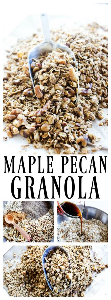 maple-pecan-granola-long-pin Maple Pecan Granola is a healthier granola option, great as a snack or topping on yogurt. It will quickly become a family favorite.